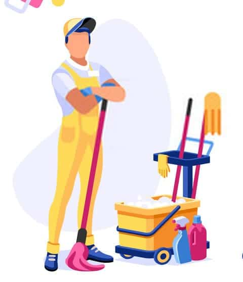 First Up Cleaning Services Vector Image with Bucket